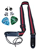LOHANU Ukulele Strap 2 Buttons + 2 Picks + Red & Black + 2 Strap Pins Not Just 1 Peg Helps You Hold Easily + Simple Adjustable Length + Comfortable on Neck + Easy Install Manual +Soprano Concert Tenor