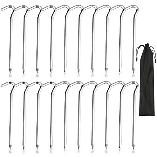 INAROCK Tent Pegs 20 Pcs, 7 inch Galvanised Metal Pegs, Heavy Duty Metal Tent Nail Stakes Hooks for Camping, Hiking, Traveling, Beach and Outdoor