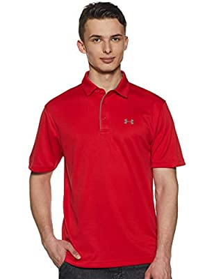Under Armour Men's Tech Golf Polo , Red (600)/Graphite , XX-Large by Under Armour