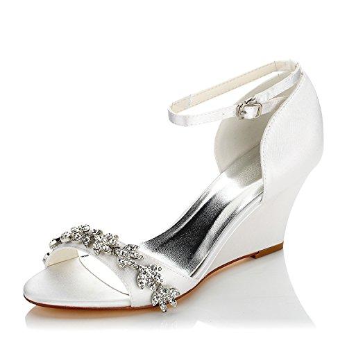 JIA JIA Damen Brautschuhe 121755B Zehe öffnen Keilabsatz Satin Pumps Strass Hochzeitsschuhe Farbe Weiß,Größe 39 EU