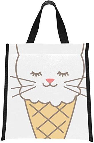 Bolsa de almuerzo con aislamiento, lindo helado, gato, dibujos animados, niño, lonchera, para adolescentes, reutilizable, plegable, mantiene la comida caliente / fría para mujeres, hombres,