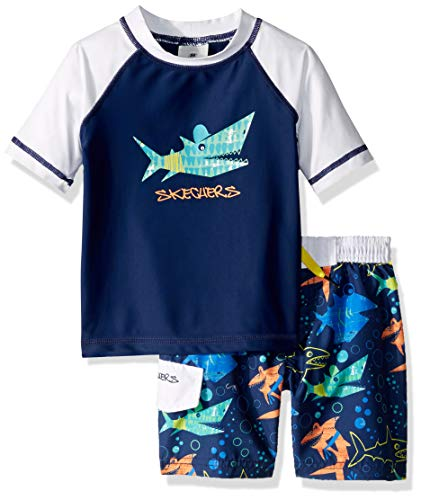 Skechers Boys' Toddler Swimsuit Bathingsuit Set with Swim Shirt & Trunks, Navy Multi Fish, 3T