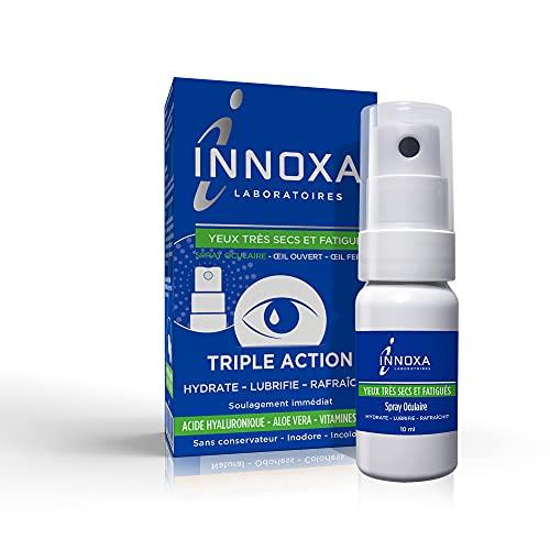 INNOXA - Spray Oculaire pour Yeux Très Secs et Fatigués - Inodore et Incolore - Acide Hyaluronique et Aloe Vera - Contre la Fatigue Oculaire - 10ml