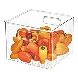iDesign 71230 Plastic Bin, Kitchen Storage Organizer for Refrigerator, Freezer and Pantry, 8' x 8' x 6', BPA-Free, Medium, Clear