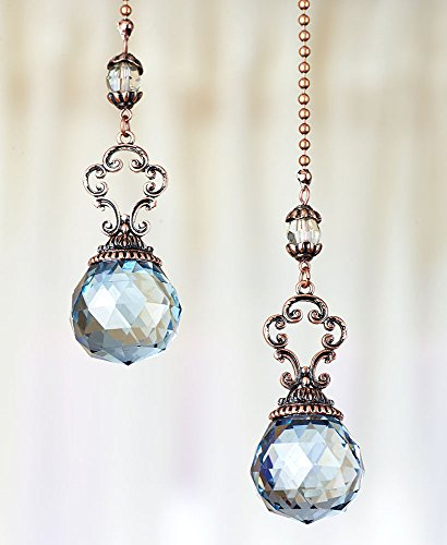 The Lakeside Collection Set of 2 Vintage Jeweled Fan Pulls (Blue)