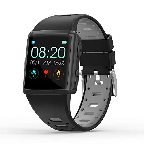 Smart Watch GPS for Android and iOS Phones, Men and Women Sport Smartwatch IP68 Waterproof with Heart Rate Monitor, Activity Trackter, Text and Call Notification, Music Control, Gray
