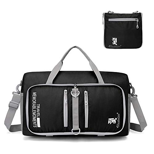 Young Min 25L Foldable Travel Duffel Bag Tear Resistant Holdall Tote Waterproof Sport Duffle Overnight Bag for Luggage, Gym, Camping, Storage, Shopping (Black)