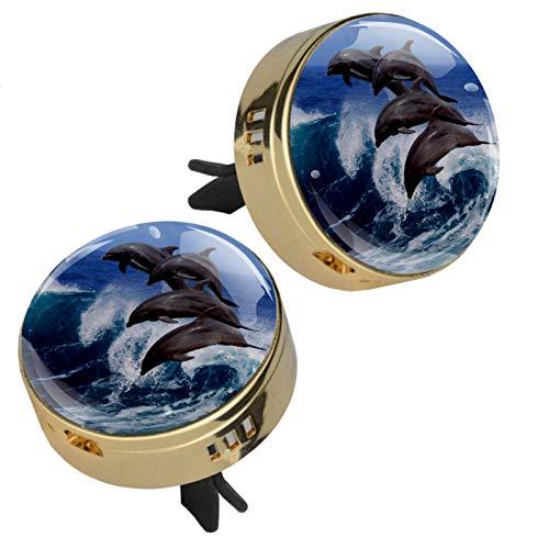 2 medallones con diseño de delfines oceánicos para aromaterapia de coche, difusor de aceites esenciales, cierre magnético, con clip de ventilación, 4 almohadillas de repuesto (dorado)