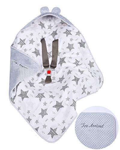 BlueberryShop Couverture de voyage pour siège d'auto pour bébé en molleton doux avec capuche, brodée, pour enfants de 0 à 4 mois, 78 cm x 78 cm, grises/étoiles blanches