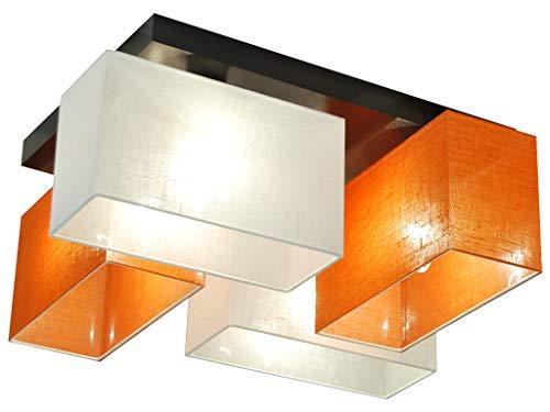 Deckenlampe - HausLeuchten JLS41WEORD - 4 Varianten, Deckenleuchte, Leuchte, Lampe, 4-flammig, Massivholz (WEIß / ORANGE)