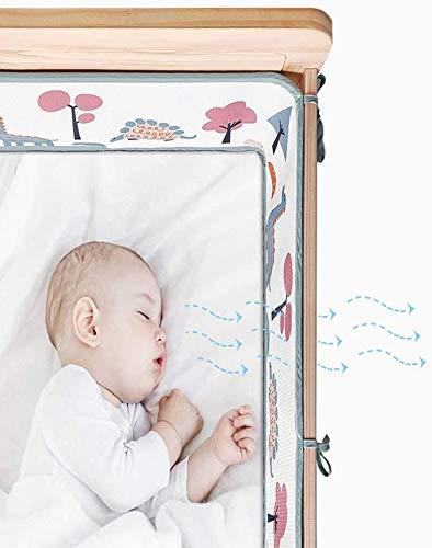 Airoya® 4-seitiges, atmungsaktives Nestchen für Babybett, 8 mm dicker Schutz, britische Sicherheitskonformität BS-1877, Airflow Safe 3D Mesh, Limited Edition (Dino)