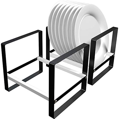 HEYB Black Metal Plate Holder Cabinet Organizer, Removable Dish Drying Rack for Kitchen Counter, Pantry, RV, Set of 2
