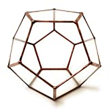Dodecaedro pequeño geométrico//terrario de cristal hechos a mano cristal Planter/moderno maceta para interior/de jardín con forma de–hecho a mano, vidrio, marrón, 15x15x13