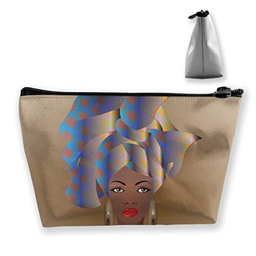 Porträt der Jungen afrikanischen Frau in Einer bunten Turbanverpackung Afro-Mode AnkarMakeup Reisetasche Gedruckte tragbare Multifunktions-Kosmetikmarke