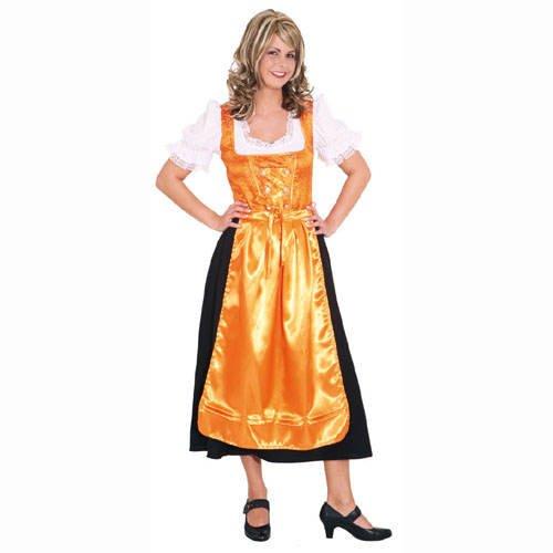 Party-Discount Damen-Kostüm Dirndl Traudl, orange-schwarz, Gr. 38