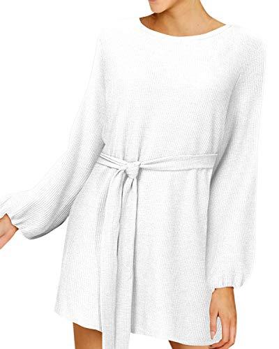 YOINS - Vestido de Punto para Mujer, Vestido de Invierno, Vestido de Patinaje, Vestido de Navidad, para Mujer, Sexy, Manga Larga, Cuello en V, Minivestido de línea A