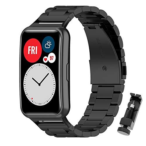 MIJOBS Correas Compatible para Huawei Watch Fit Correa de Acero Inoxidable Ajustable de Reloj para Huawei Watch FIT Pulsera de Repuesto
