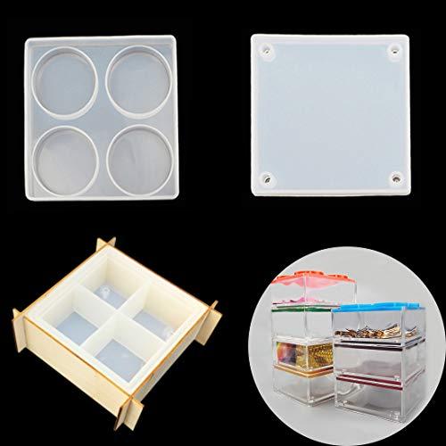 FineInno Schachtel Epoxidharz Formen,Box Resin Mold,Schmuck Box Silikonform,Quadratische Gießform mit Deckel DIY Sechseck Aufbewahrungsbox Handwerk (Box Resin Molds)