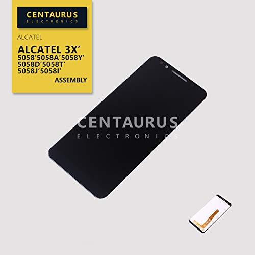 CENTAURUS Replacement for Alcatel 3X LCD Display Touch Screen Digitizer Panel Compatible with Alcatel 3X LTE 5058 5058A 5058Y 5058D 5058T 5058J 5058I 5.7' (Black-NO Frame)