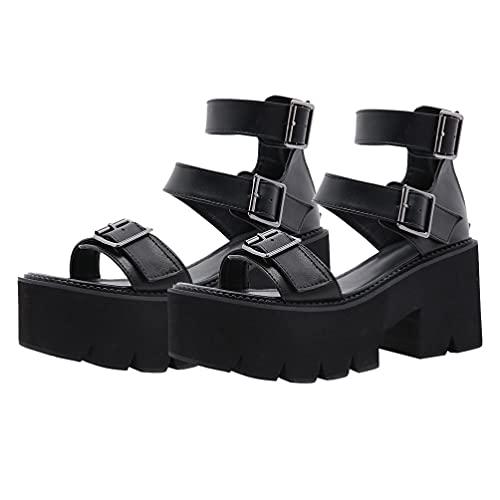 Damen Keil Sandale Dicken Boden Sandalen Gothic Stil Plattform Flache Sandalen Sommer Sandalen für Punk Stil Gladiator Keil Gladiator Sandale Schuhe