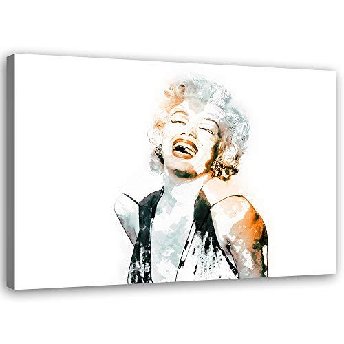 Feeby Cuadros en Lienzo Acuarela Arte Moderno Marilyn Monroe Blanco 90x60 cm