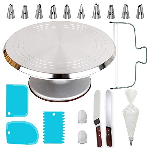 50 PCs Aluminium Alloy Revolving Cake Stand 12quot Cake Turntable Professional Cake Decorating Tools Kit with Straight amp Offset Spatula 7 Icing Tips and Bags Cake Leveler amp EBook for Beginners
