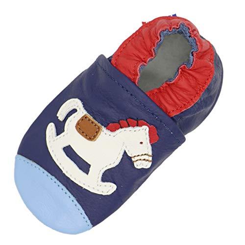 Carozoo Weiche Sohle Leder Baby Kinder Indoor Schuhe Prewalker bis 8 Jahre (16 Designs), Blau - Schaukelpferd Blau - Größe: 3-4 Jahre