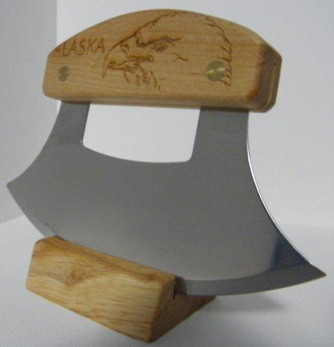 Alaskan Inupiat Style Ulu mit Adler geätzter Birkenholzgriff, 6,25