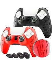 Koete 2021 - 2 protezioni per controller PS5 – protezione in silicone per controller Playstation 5 console – Protegge il controller PS5 Dualsense da urti e graffi, antiscivolo + 8 grip (nero + rosso)