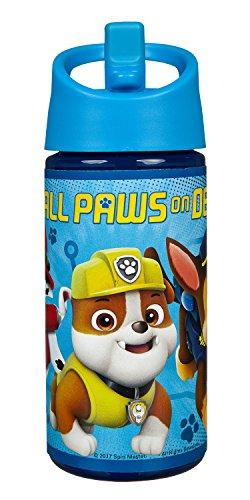 Scooli PPUT9914 - Aero Sportflasche aus Kunststoff mit integriertem Strohhalm, BPA und Phthalat frei, Paw Patrol mit Chase, Rubble und Marshall, ca. 400 ml