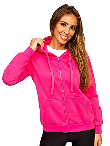 BOLF Mujer Sudadera con Capucha Cierre de Cremallera Jersey Blusa Suéter Sweatshirt de Manga Larga Jacket Fitness Deporte Outdoor Estilo Diario W03B Fucsia L [A1A]