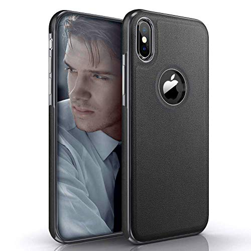 LOHASIC iPhone X Case/iPhone Xs Case, Slim Leather Luxury PU Soft Flexible Hybrid Bumper Non-Slip Grip Shockproof Anti-Scratch Full Body Protective Cover Cases for iPhone X 10 XS 5.8 inch - Black -  4351654704