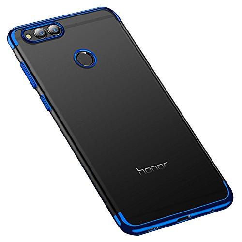 BLUGUL Cover Huawei Honor 7X, Electroplating Coloring, Ultra Sottile, Morbida TPU Silicone Case, Trasparente Chiaro Custodie per Honor 7X Blu
