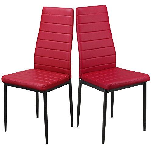 1home Casa de tabla moderna de cuero de imitación Cocina Comedor piernas del metal con respaldo alto (par rojo)