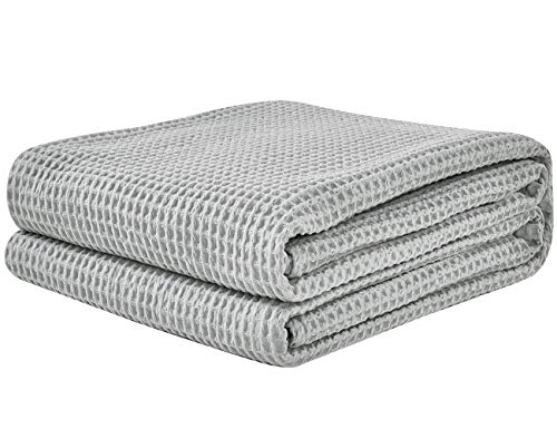 PHF Cotton Waffle Weave Blankets Queen Size Soft Cozy Lightweight for Bed Couch Sofa Light Grey