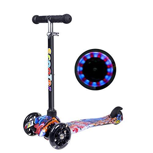 Yuanj Scooter Kinder Roller, Dreiradscooter für Mädchen und Jungen, Höhenverstellbarer und Abnehmbarer Kinderscooter, mit LED PU Räder / Graffiti Kinder Scooter ab 3 Jahre