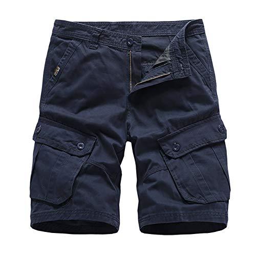 Whittie Pantalon à Cinq Points pour Hommes Shorts de Sport Décontractés D'été Jogger Beach Cotton Tooling Work Pants,Blue,34