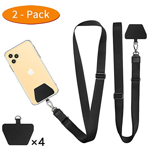 2 Pack Universal Phone Strap Tether Pad Compatible with All Smartphones Black ROCONTRIP Phone Lanyard Patch
