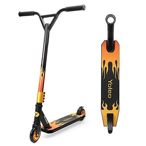 YOLEO Stunt Scooter Freestyle Tretroller Pro Scooter Kickscooter Roller für Kinder und Erwachsene ABEC 7 100mm Rollen Aluminium Radnabe Tragfähigkeit: 100 kg (Flamme)