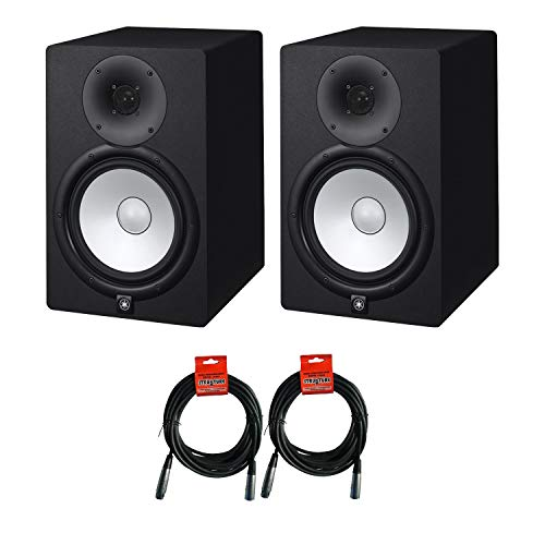 Yamaha HS Series HS8 - 8 Inch 2 way Bass Reflex Bi amplified Nearfield Active Powered Studio Monitor in Black (Pair) with Microphone Cables