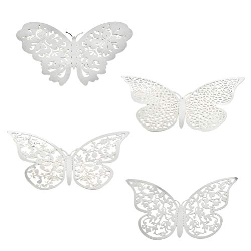YANSHON 96 Pcs 3D Butterfly Wall Stickers Silver Wall Decals Craft Butterfly Mural Stickers Decor for Home and Bedroom Decoration
