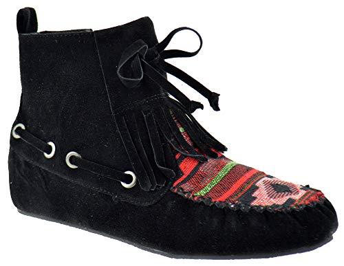 Nature Breeze Cherokee 14 Womens Fringe Tribal Pattern Fringe Moccasin Ankle Booties Black 7.5