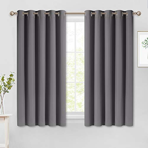 NICETOWN Bedroom Blackout Curtains Panels - Window Treatment Thermal Insulated Solid Grommet Blackout for Living Room (Set of 2, 66 by 54 Inch, Grey)
