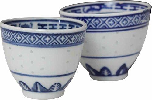 yoaxia ® Marke - [ REISKORN BLAU ] Set - 4x Sake-Becher/Teebecher Ø 7cm / Teetasse/dragon