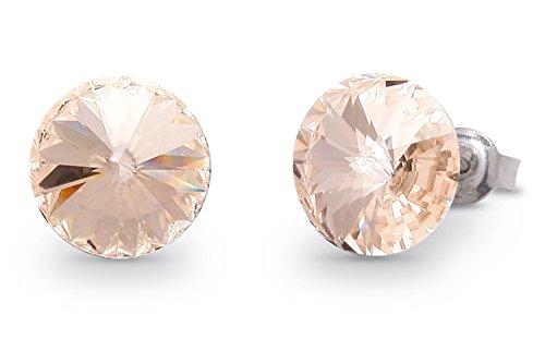 Swarovski Elements Damen Ohrring Ohrstecker Sterling Silber 925, Swarovski Kristall 11 mm rund champagner