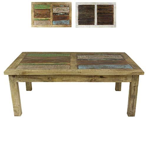 Oriental Galerie Couchtisch Wohnzimmertisch Mangoholz Holztisch Beistelltisch klein Indien mit bunten Holzstücken niedrig als Tischplatte Shabby Chic Natur Bunt 120 cm