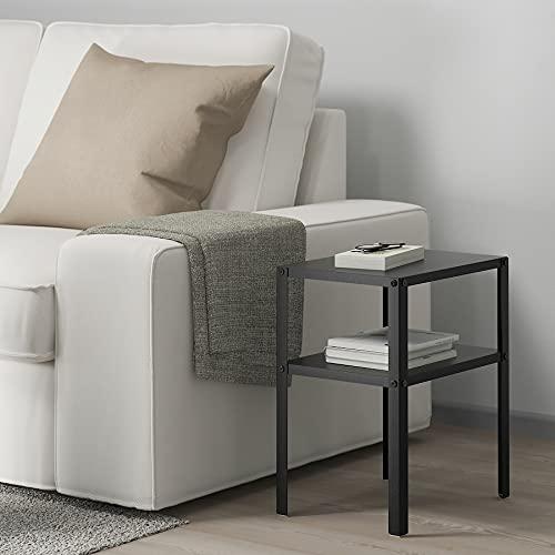 Mesita de noche de metal negro IKEA Knarrevik - Mesa auxiliar decorativa con estante