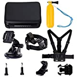 Navitech 9 in 1 Action Camera Accessory Combo Kit and Rugged Grey Storage Case Compatible with The BOROFONE Action Camera Waterproof 4K Wi-Fi 1080P 12MP