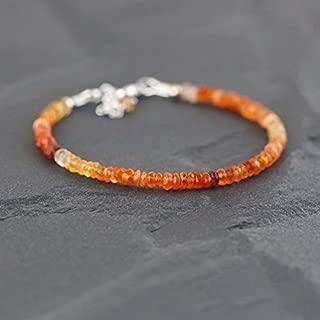 JP_Beads Mexican Fire Opal Bracelet in Sterling Silver, Rose Or Gold Filled Filled Filled. Dainty Beaded Stacking Bracelet. Delicate Red Orange Gemstone Bracelet 3mm