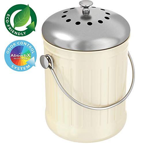 Check Out This iTouchless EcoWise 1.32 Gallon Compost Bin for Kitchen Countertop, Stainless Steel Bu...